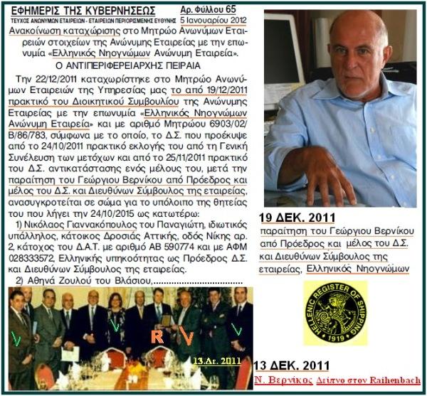 Να και μια καλή είδηση: Παραιτήθηκε από το Δ.Σ της ΔΕΗ ο εφοπλιστής κ. Νίκος Α. Βερνίκος ....ξαδερφο-μπατζανάκης του κ. Γ. Βαρουφάκη.