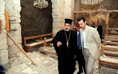president-assad-views-damage-to-ancient-church-in-maaloula